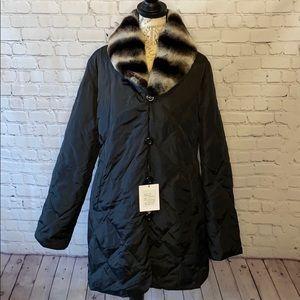 Belle Fare rabbit fur down puffer stadium coat XL